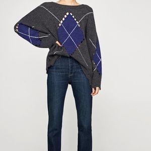 Zara Knit Distressed Oversized Diamond Sweater